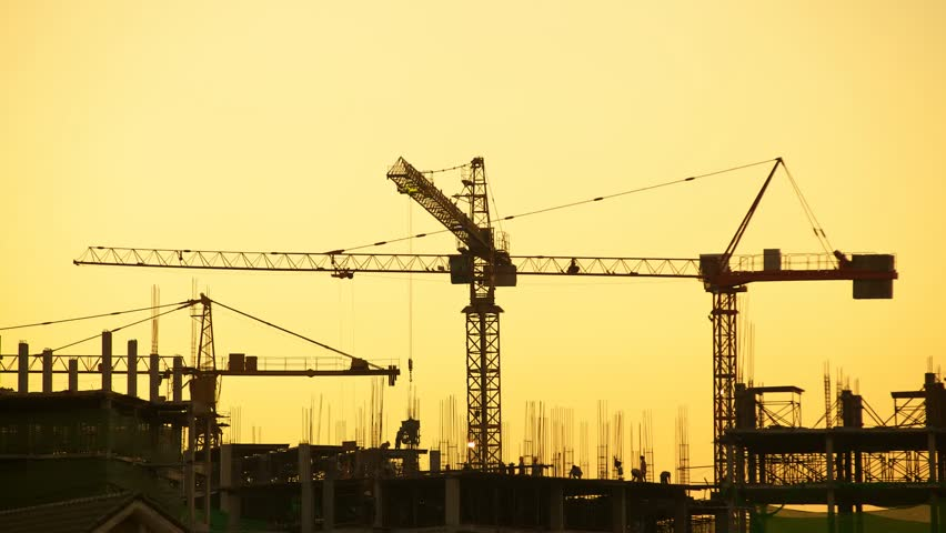 Construction site sunset, timelapse