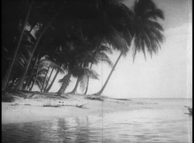 Wide shot natives arriving on island in canoes - SD stock footage clip