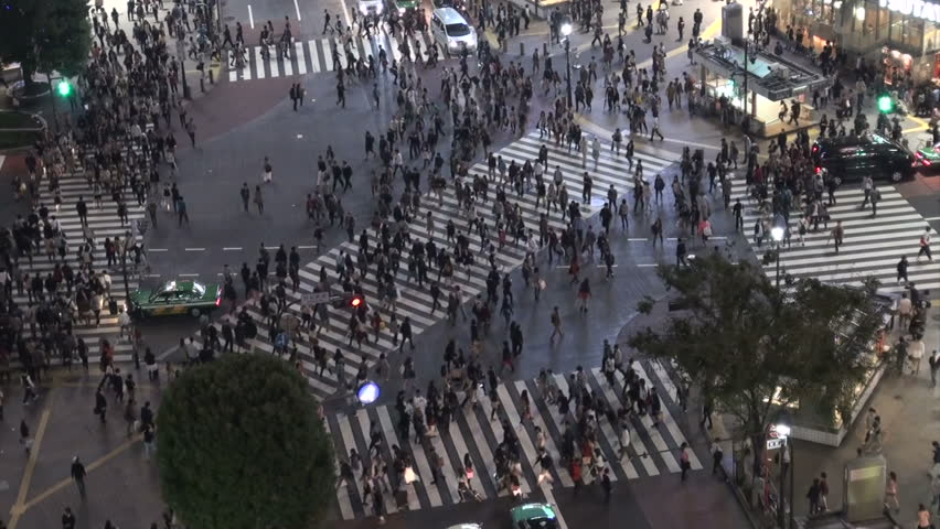 TOKYO, JAPAN - 14 OCTOBER 2012: Large crowds of pedestrians, commuters, and shoppers walk on the famous Shibuya crossing at night, in Tokyo, Japan | Shutterstock HD Video #3267532