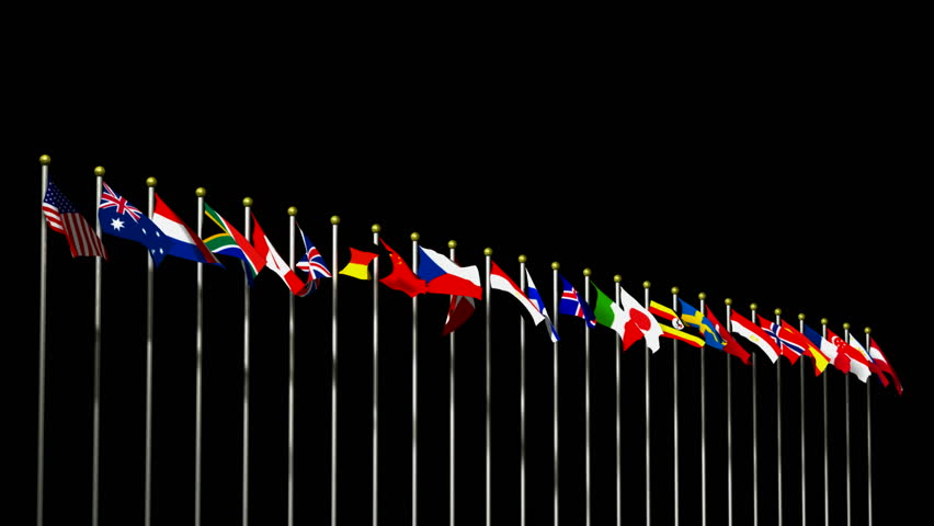 World Flags On Black Background HD1080 Stock Footage Video ...