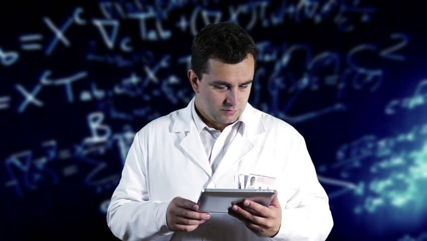 Scientist Using Tablet PC Scientific Mathematics Background - HD stock footage clip