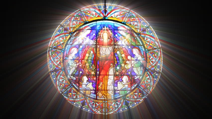 Stained Glass Jesus with light rays (Loop) - HD stock footage clip