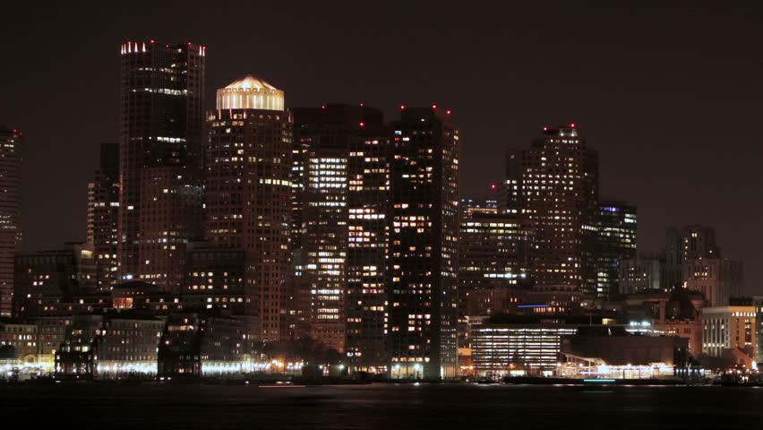 Boston Skyline night time lapse pan right