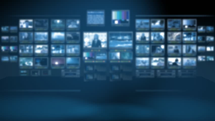 Monitor wall. Seamless loop background for virtual studio - HD stock video clip