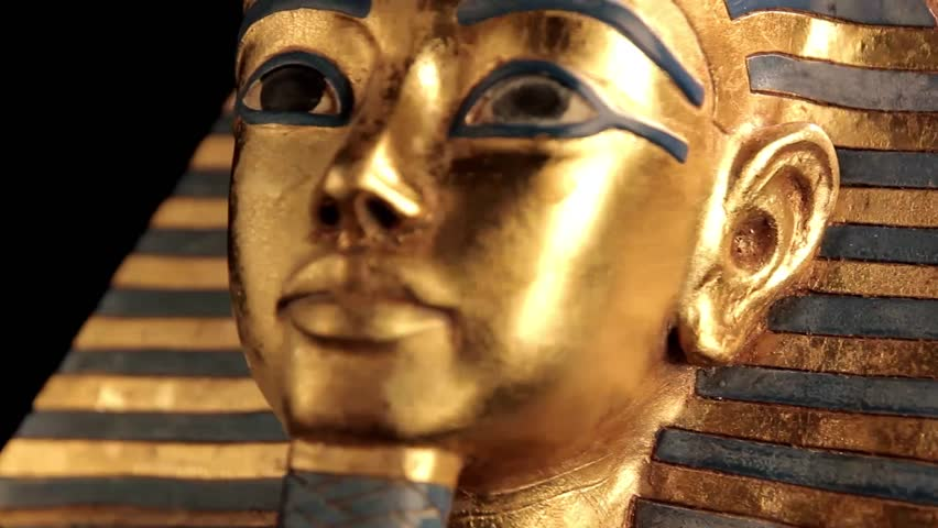 King Tut Sarcophagus rotating over black background closeup - looping video - HD stock video clip