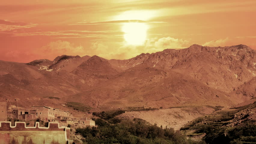 sunrise time lapse over high atlas mountains in Morocco