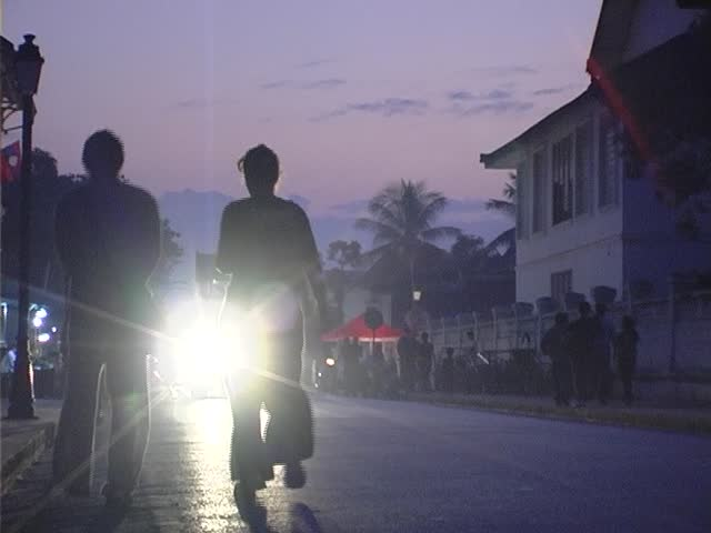 People on the street in Luang Phabang - SD stock video clip