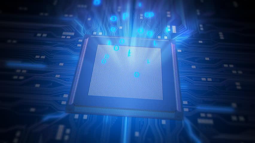CPU microchip rotating on an electronic circuit board. Seamless loop. - HD stock footage clip