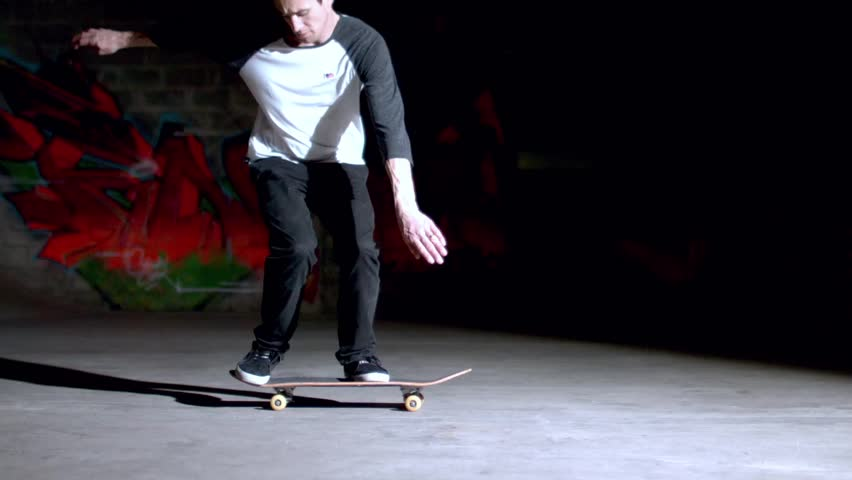 Skater doing backside 360 trick in slow motion - HD stock footage clip