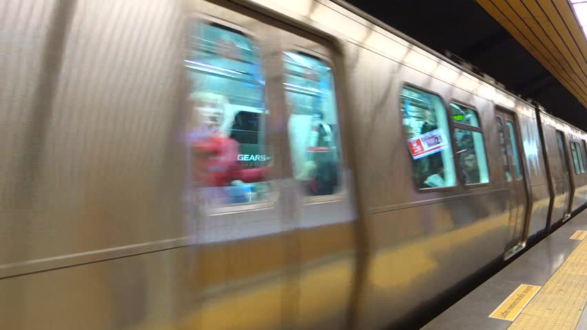 ISTANBUL – TURKEY – MARCH 30: Metro train arriving in Osmanbey underground station on March 30, 2013, in Istanbul Turkey. - HD stock footage clip