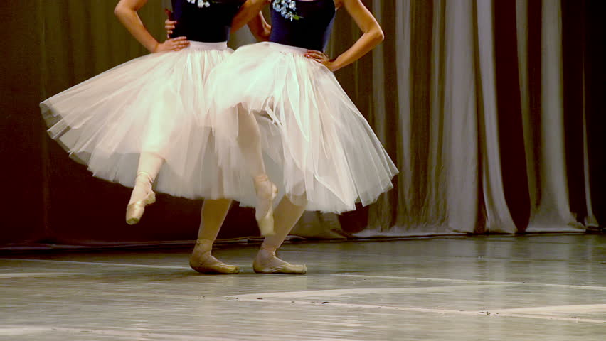 Four Dancers. Slow Motion at a rate of 240 fps. Choreographic sketch ballet dancers - HD stock footage clip