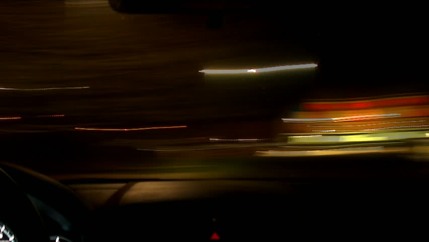 Driving through the busy city at night - Time-Lapsed. HD 1080 - HD stock video clip