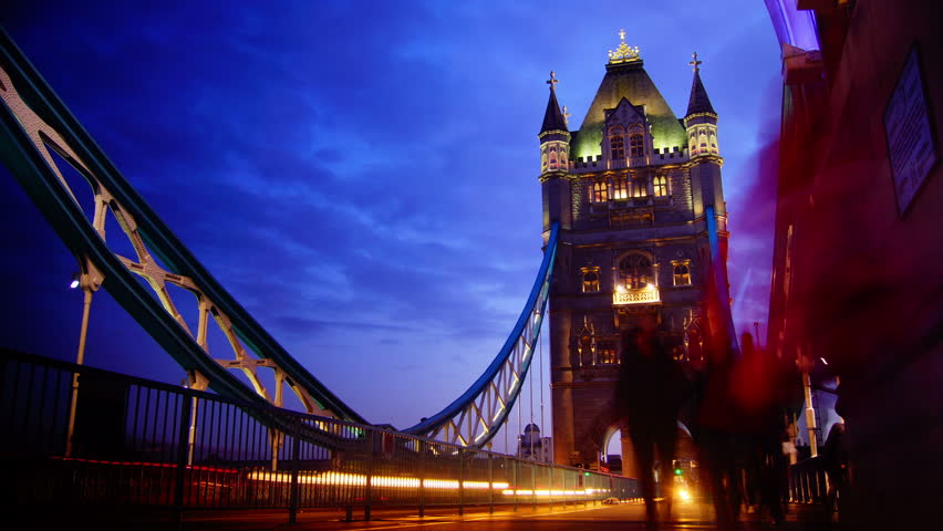 Rush hour in London, view to the Tower Bridge night