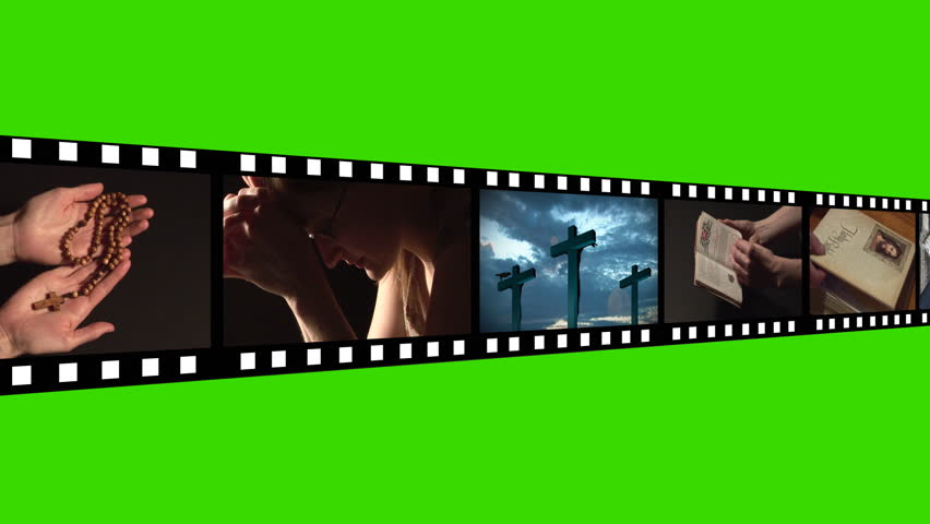 Film reel religious green screen