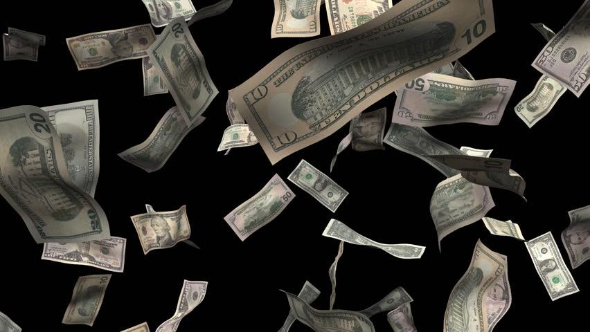 Assorted bills burst of money. Money animation made with 1, 5, 10, 20, 50, 100 dollar bills. includes alpha matte.  - HD stock footage clip