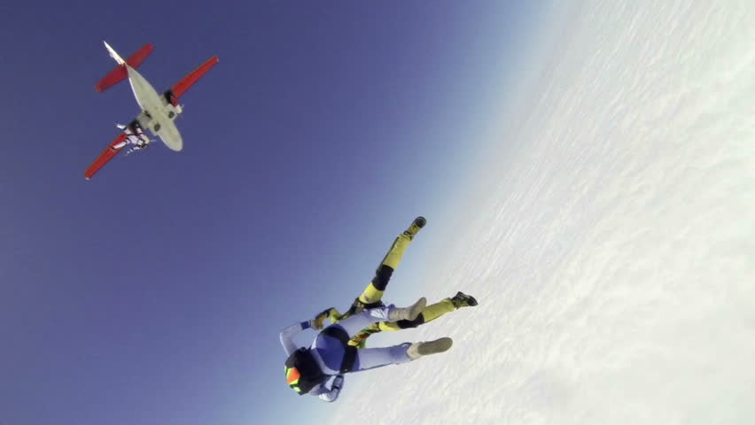 Skydiving video slow-motion.  - HD stock video clip