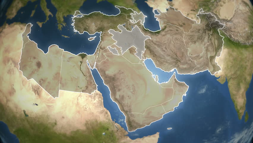 Spinning Earth with Middle East country maps. Loop-able.  Each country border freeze a few seconds to let you edit and change the order or duration. Elements of this video furnished by NASA.