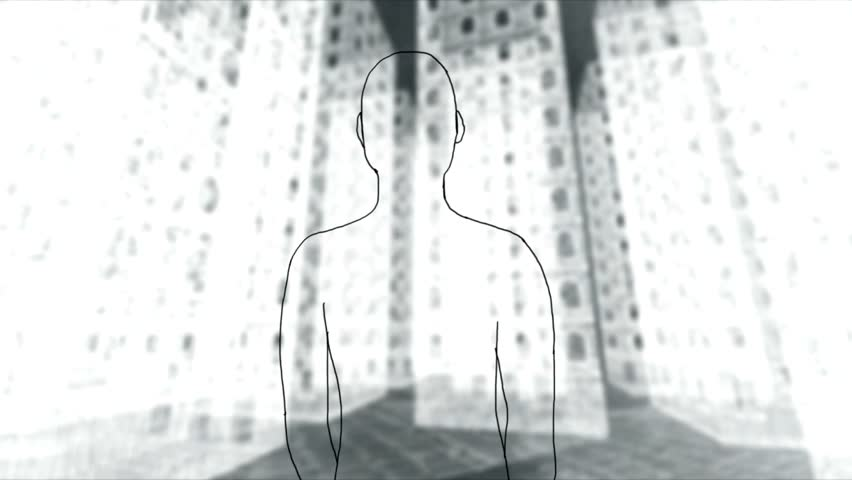 Man turns among the skyscrapers - Rotoscoping technique animation