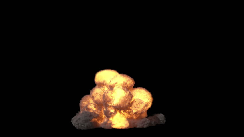 2 Explosions+alpha matte. Frontal view. 2 highly realistic fire explosions with smoke and alpha matte to compose.