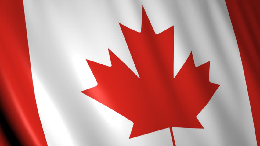 Realistic 3d Seamless Looping Canada Flag Waving In The ...
