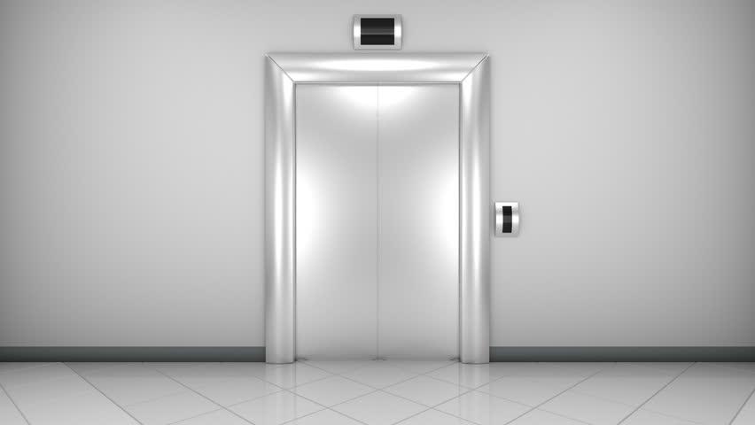 Opening doors in modern elevator. Loopable