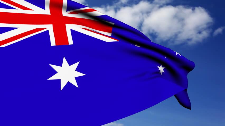 Australian Flag waving on wind. - HD stock footage clip