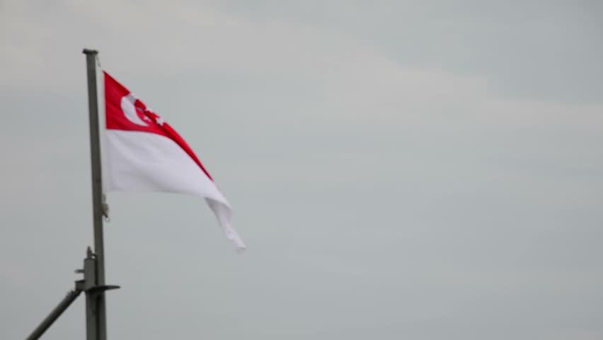 singapore flag flying on a battleship pole - HD stock footage clip
