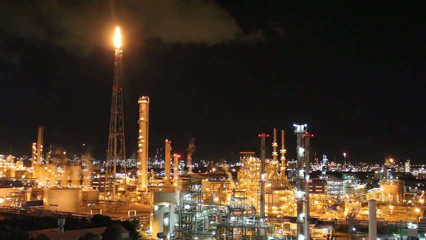 Night scene of petrochemical plant , Eastern Thailand - HD stock footage clip