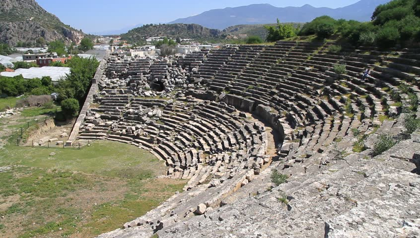 Ruins of ancient theater in Letoona, Turkey - HD stock video clip