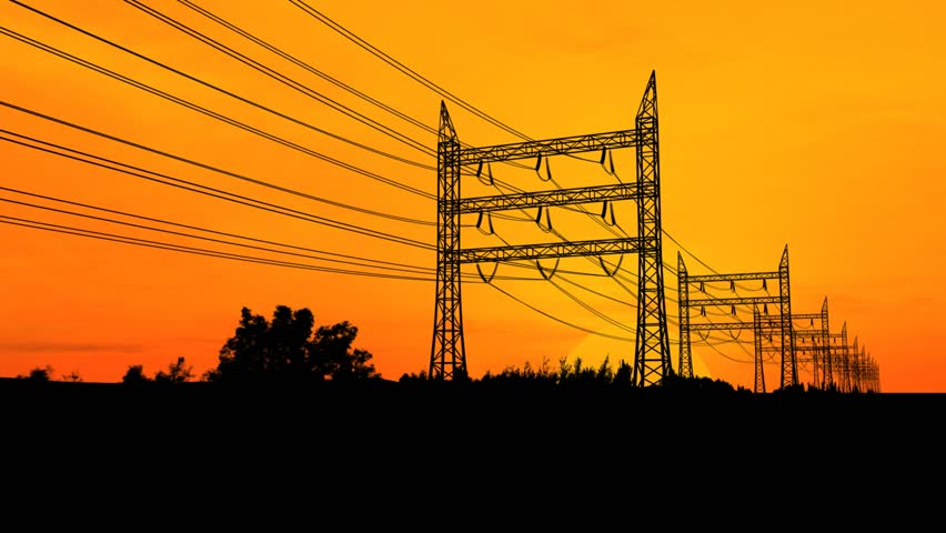 HD1080 Pylons and Sunset - HD stock video clip
