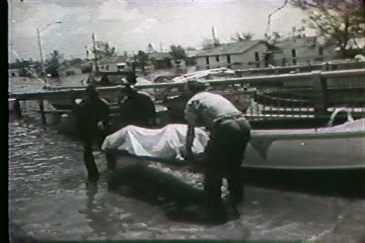 1960s - Hurricane Betsy threatens New Orleans. - SD stock footage clip