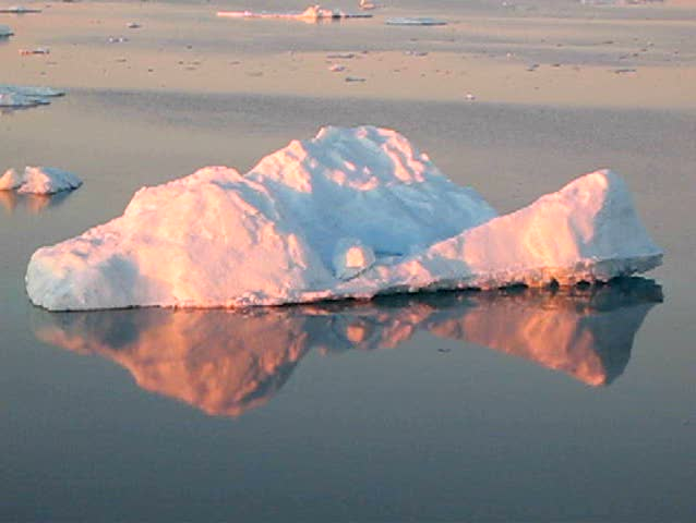 Antarctic icescape close to the Peninsula in midnight sunlight - SD stock footage clip