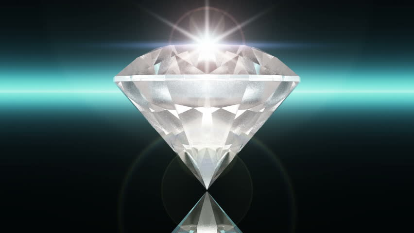 Beautiful Diamond Close Up With Matte In Looped Animation