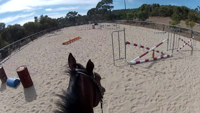 horse jumping pov - HD stock footage clip