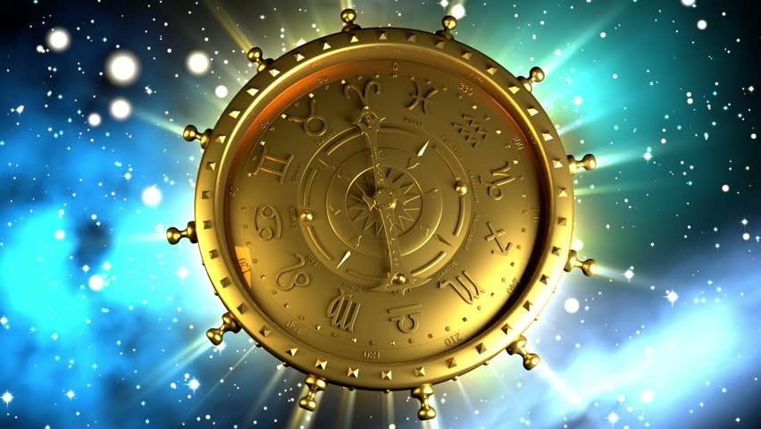 Golden Zodiac Machine and Stars - HD stock video clip