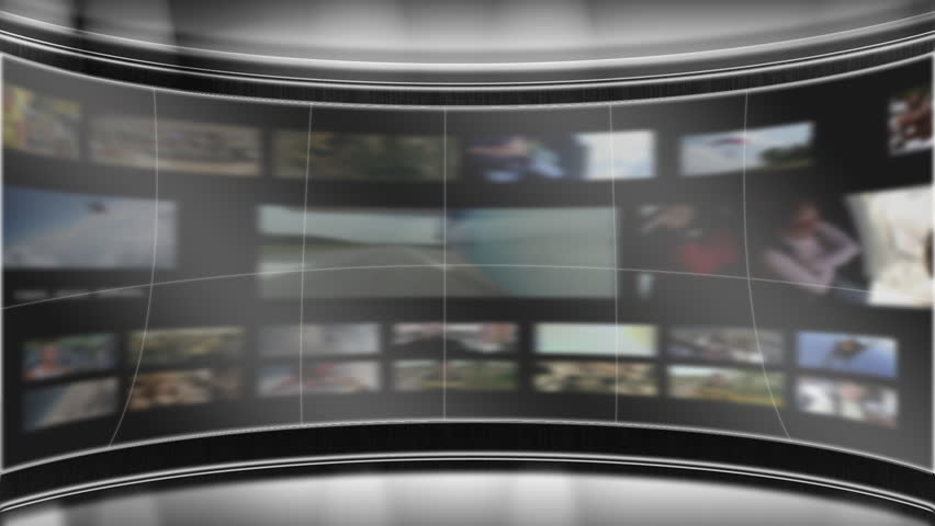 Virtual TV studio set with main animated monitor centered