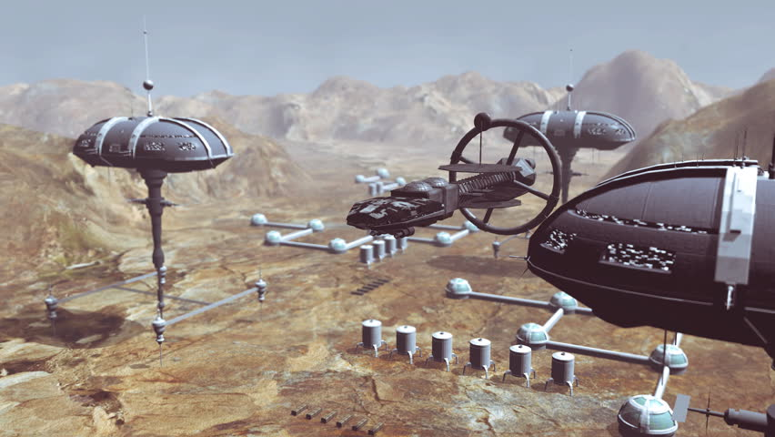 Spaceship take off from Mars colony