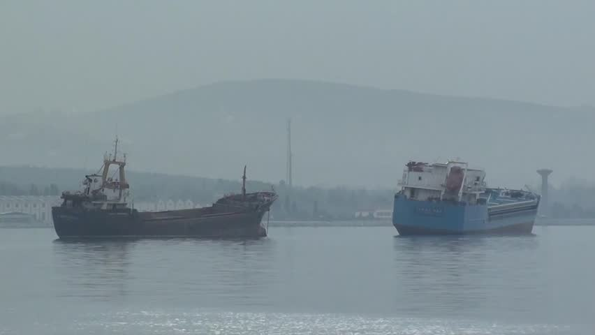 TUZLA, ISTANBUL, TURKEY – April 2, 2013: Ships at anchorage in foggy weather #4057309