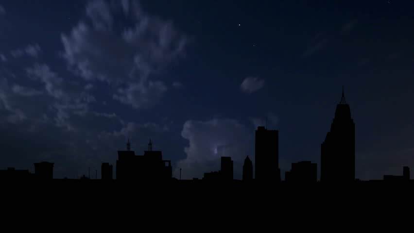 Alabama Mobile Downtown night storm.   - HD stock footage clip