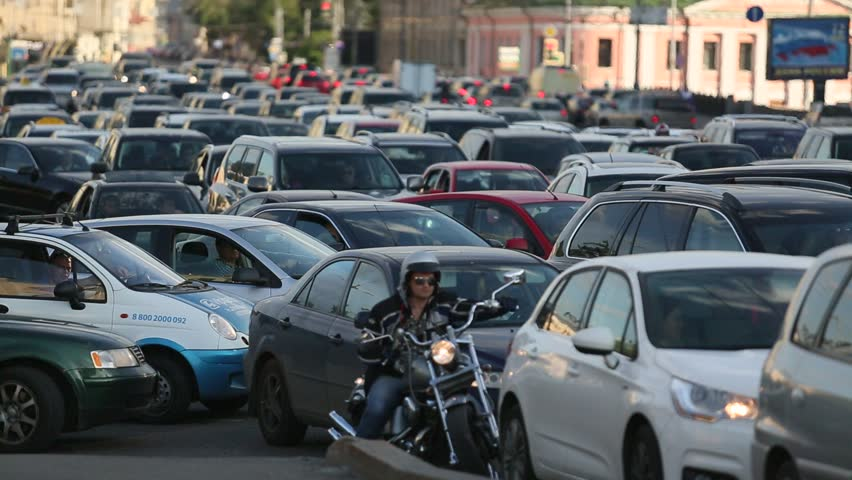 MOSCOW - JUNE 13: Cars stands in traffic jam on the city center, June 13, 2013,