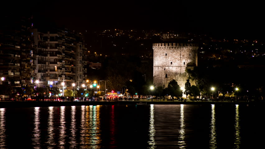 White Tower of Thessaloniki, Night View - High Quality Timelapse HD Video