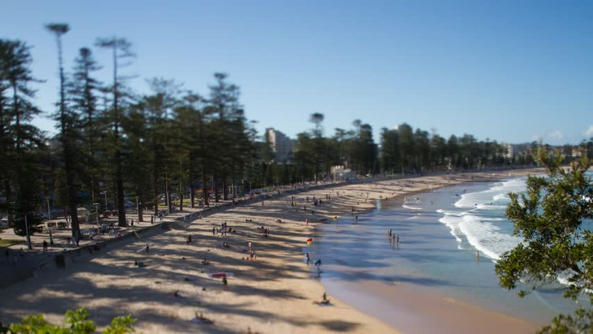 Manly Beach Australia tilt shift time-lapse - HD stock footage clip