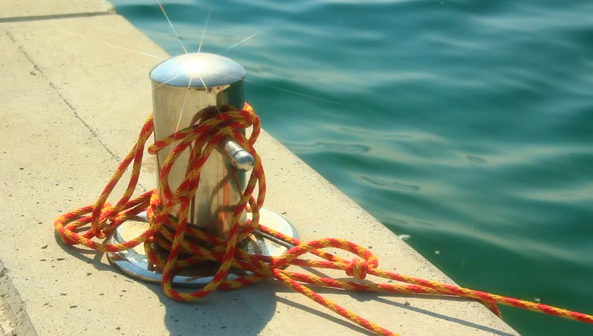 Mooring for small boats. - HD stock video clip