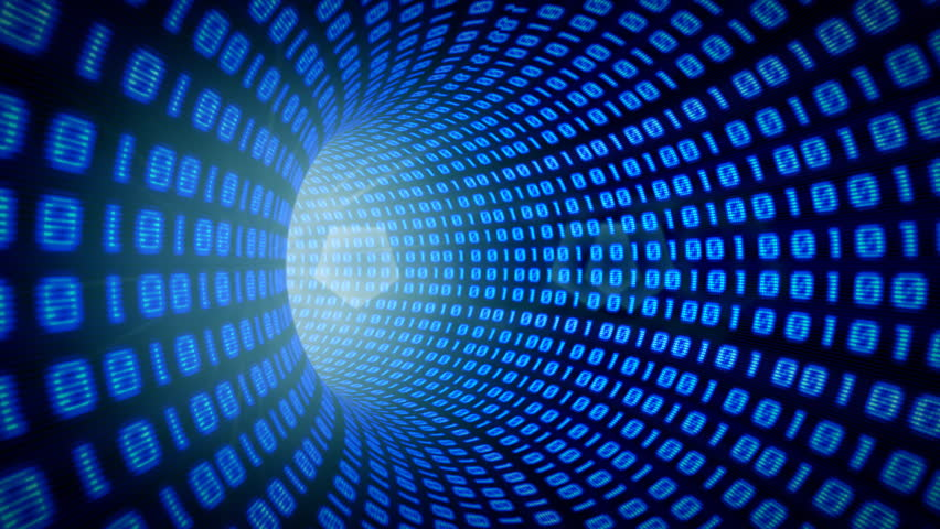Seamlessly looping animation of a binary internet tunnel. - HD stock footage clip