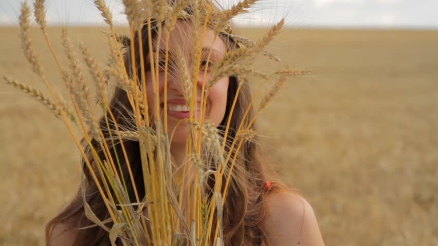 Happy Hippy Woman Holding Wheat Beauty Crop Agriculture Bread Concept HD - HD stock footage clip