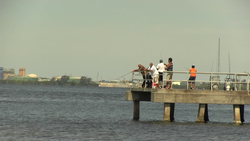 Men fishing off a pier in tampa bay stock footage video for Tampa fishing piers