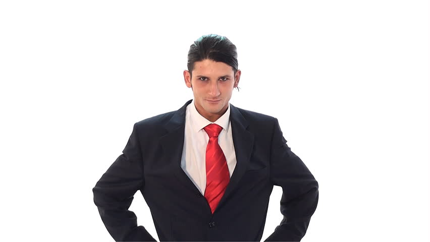 very happy and funny businessman on white - HD stock video clip