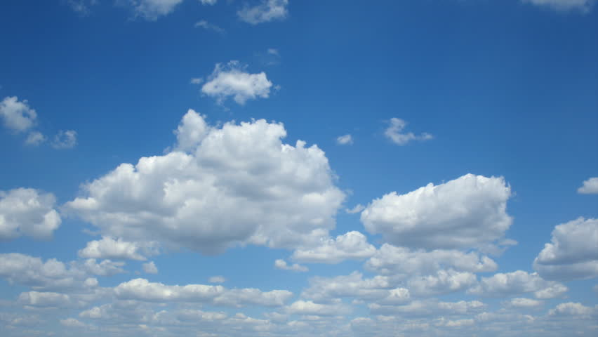 Beautiful white clouds, blue sky, time lapse video - HD stock footage clip