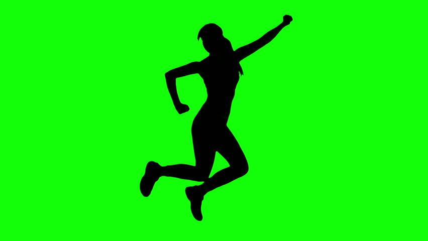 Silhouette of woman doing fitness on green screen in slow motion - HD stock video clip