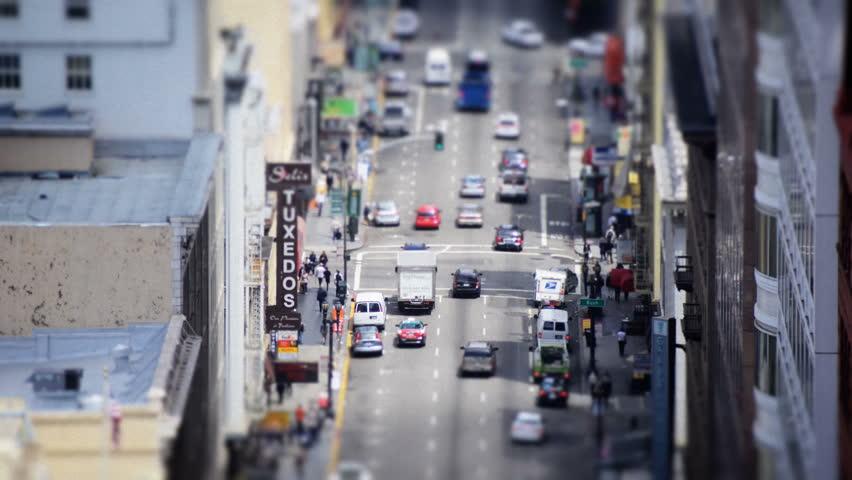 Tilt Shift / Time Lapse of Traffic on Market Street San Francisco